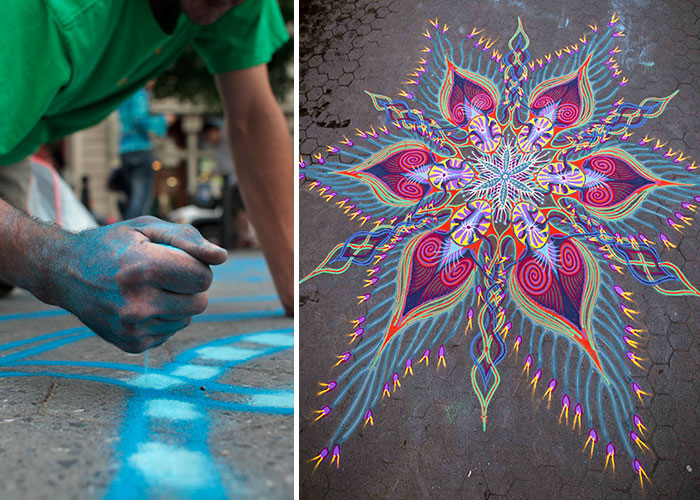 Artist Spends Up To 8 Hours On Beautiful Sand Paintings That Will Be Swept Away By The Wind