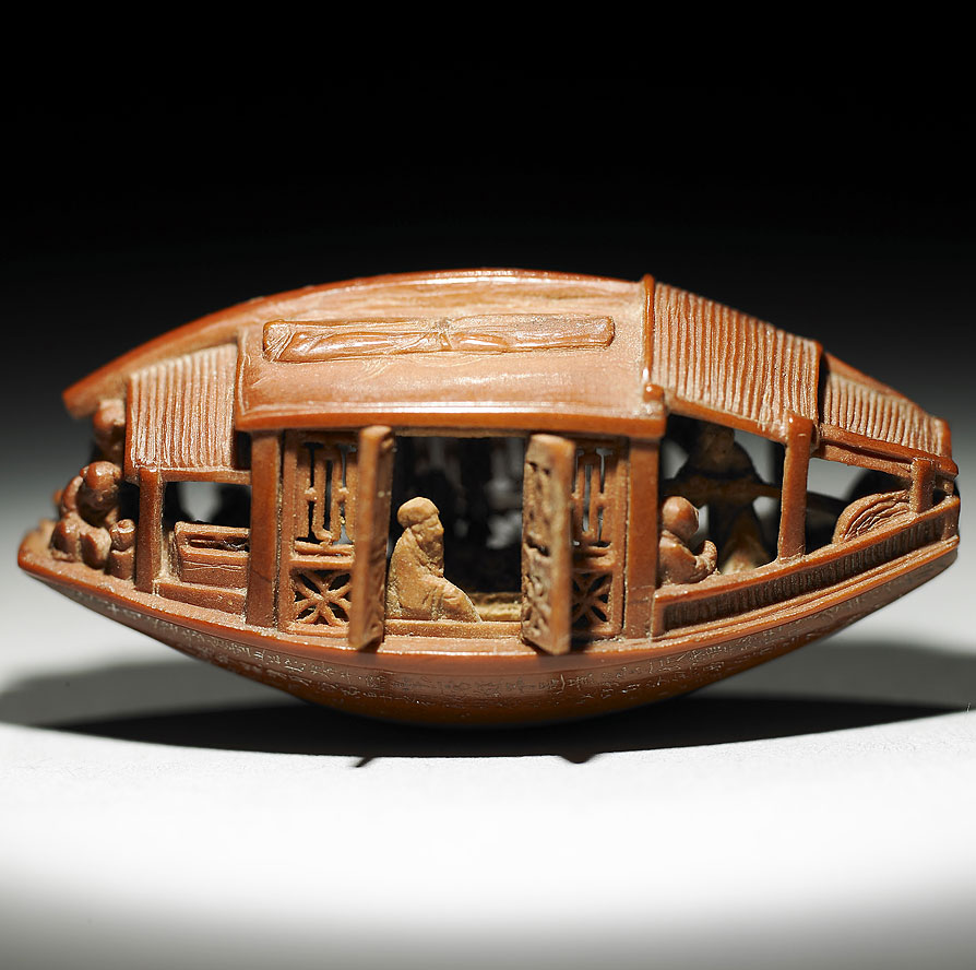 This Intricate Boat Carving Was Made Out Of A Single Olive Pit In 1737
