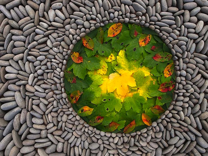 Artist Arranges Rocks And Leaves Into Beautiful Geometric Land Art