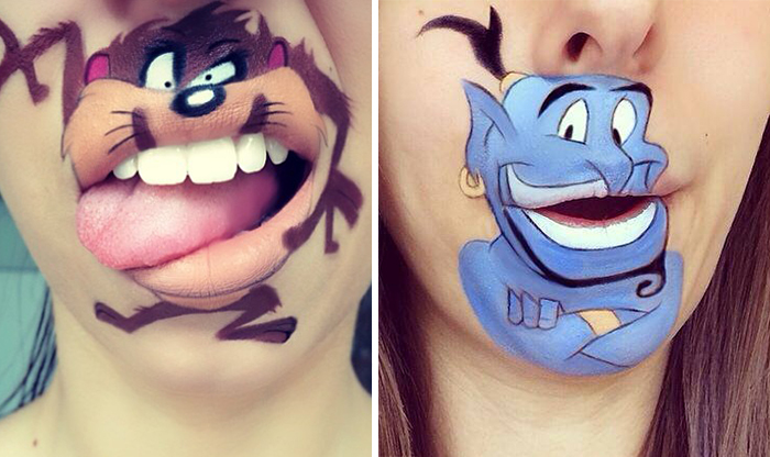 Makeup Artist Turns Her Lips Into Cute Cartoon Characters