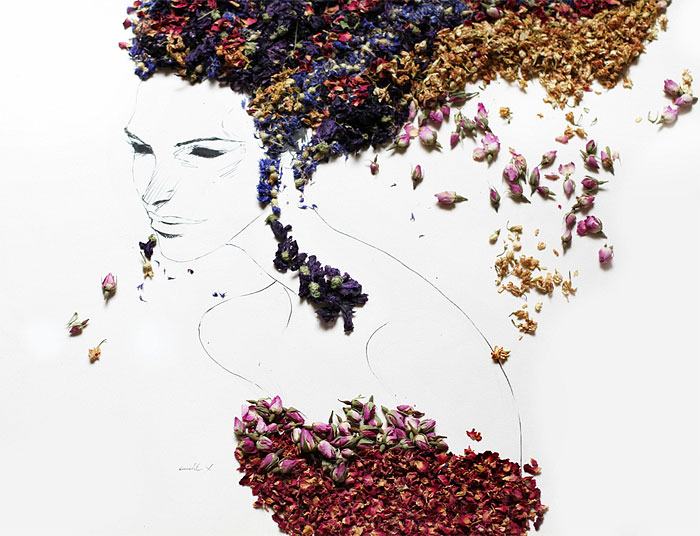 Beautiful Portraits Made Of Various Herbs And Dried Flowers