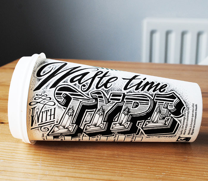 Coffee Time: I Use Paper Coffee Cups To Create Elaborate Typographic Illustrations