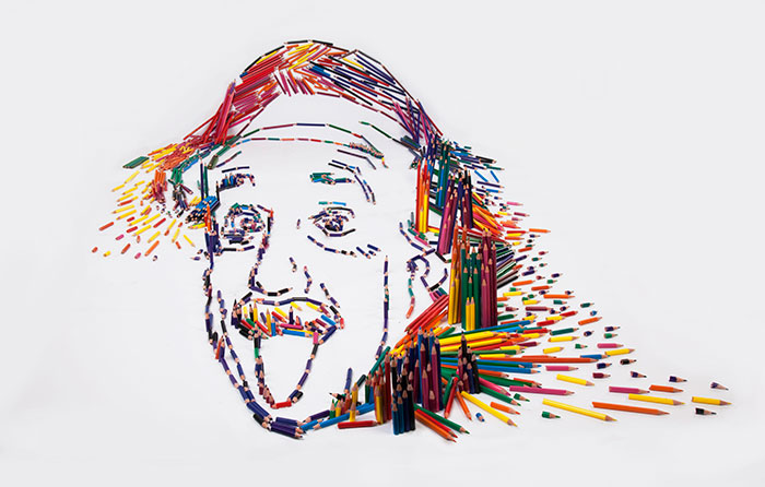 We Made Einstein's Famous Portrait From 1,000 Pencils