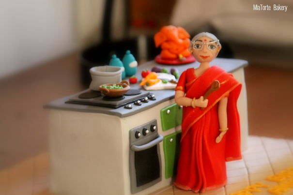 A Kitchen Themed Cake For An Indian Granny's Birthday