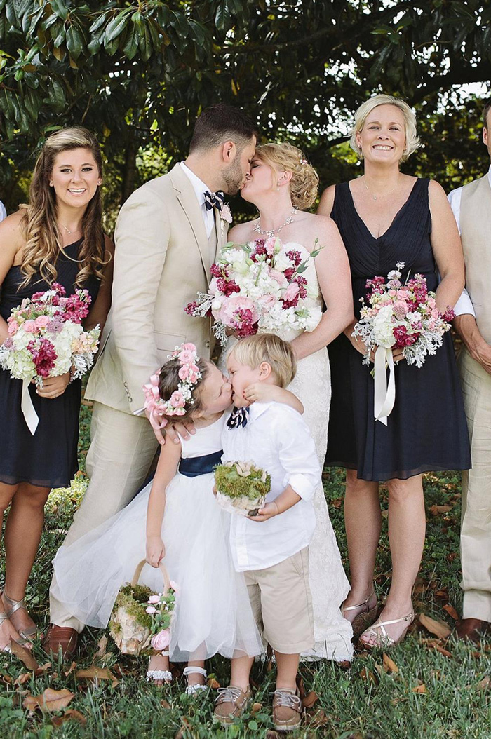 4-Year-Old Flower Girl's Surprise Kiss Steals Spotlight At Mom's Wedding