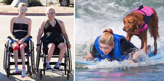 Two Sisters With Same Terminal Illness Catch Waves With My Surfing Dog