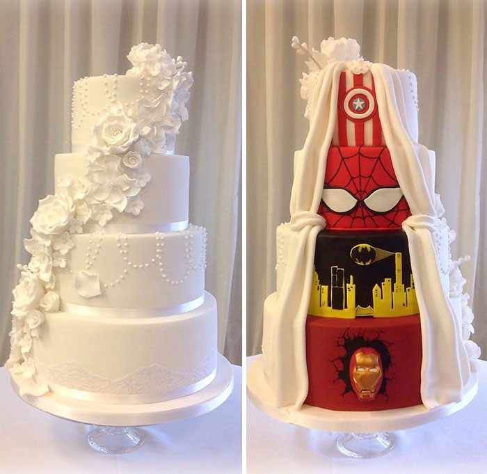 This Couple Had The Best Compromise And Went With A 'Two-Face' Wedding Cake