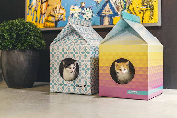 These Eco-Friendly Cat Playhouses Look Like Big Milk Cartons