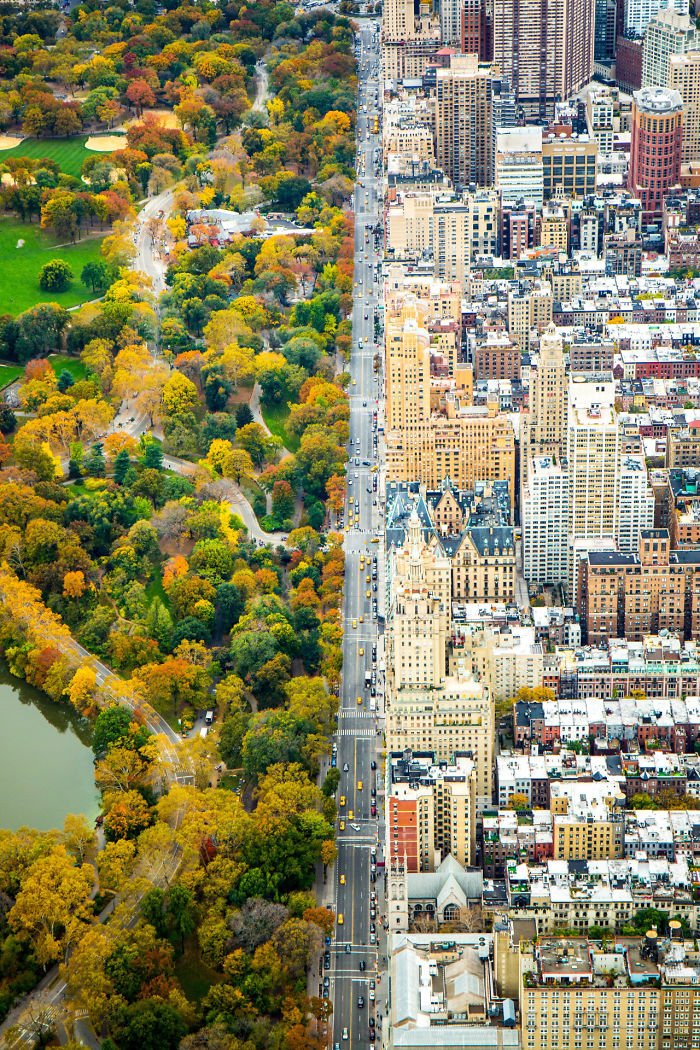 Incredible Contrast Between Two Worlds: The City Vs. Central Park, New York