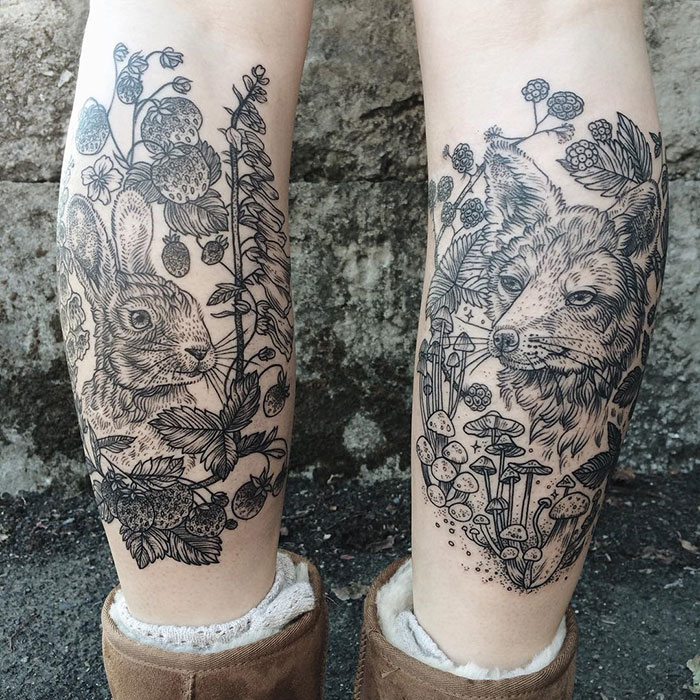 Magical Flora & Fauna Tattoos Inspired By Vintage Drawings