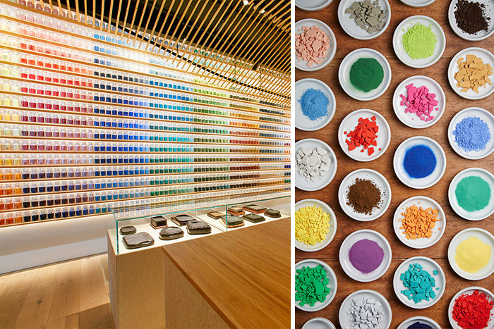 4,200 Pigments Lined Up On Japanese Paint Supply Store's Walls To Support Traditional Art Techniques