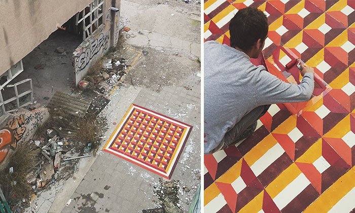 I Spray Paint Floors Of Abandoned Places With Colorful Tile Patterns