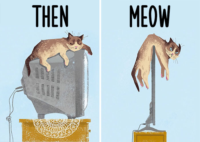 Then vs Meow: How Technology Has Changed Cats' Lives (15 Pics)