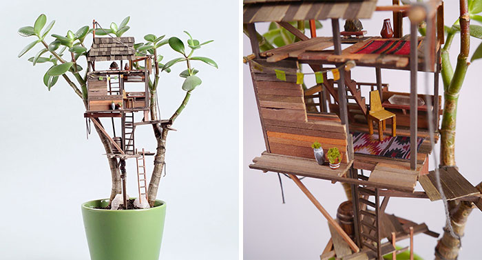 Miniature Tree Houses For Houseplants Are Just Perfect For Fairies