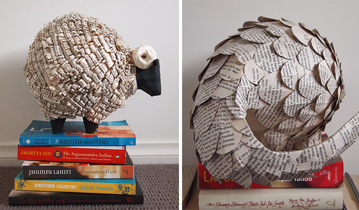 I Cut Old Books Into Hundreds Of Strips, Scales, And Curls, And Turn Them Into Animal Sculptures