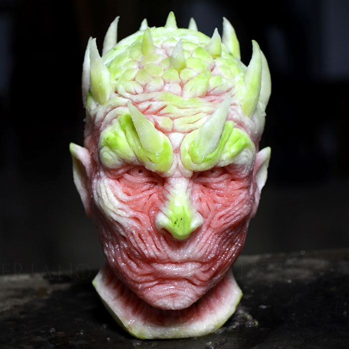 'Game of Thrones' Night King Being Carved Out Of A Watermelon