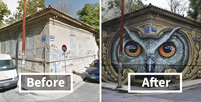 50 Incredible Before & After Street Art Transformations That'll Make You Say Wow