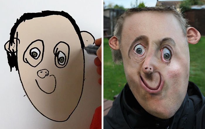 Dad Turns His 6-Year-Old Son's Drawings Into Reality And The Results Are Both Creepy And Hilarious (31 Pics)