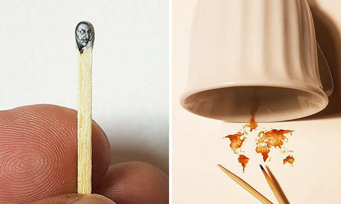 Turkish Artist Paints Unbelievably Tiny Paintings Onto Small Objects