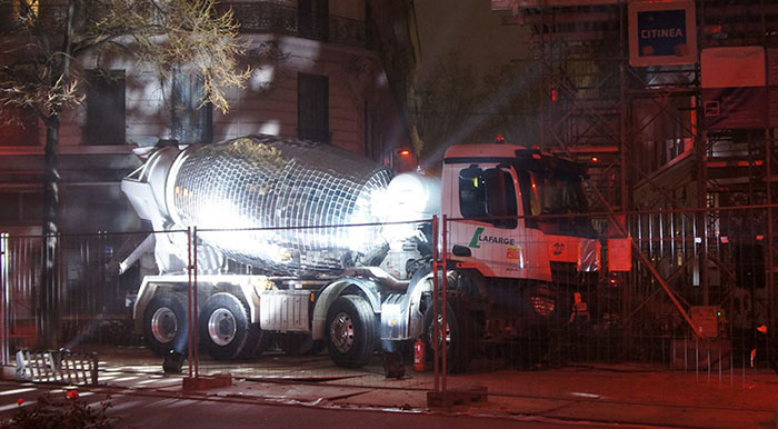 Artist Turns A Cement Mixer Into A Giant Disco Ball, And You Have To See It In Action