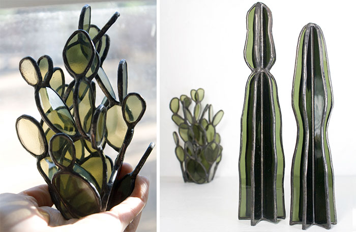 Stained Glass Succulents By Lesley Green