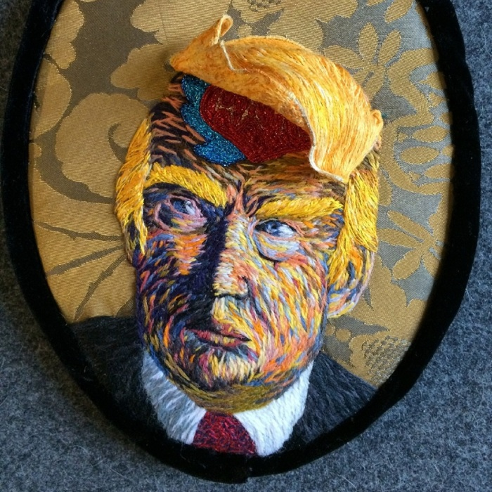 I Embroidered Political Portraits Of Donald Trump And Hillary Clinton