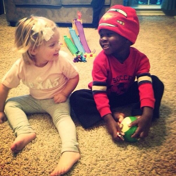 My Newly Adopted Nephew, Charlie, And My 2 Year Old Niece, Ellison, Playing Together For The First Time