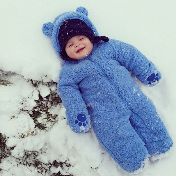 I Think My Son Enjoyed His First Time In The Snow, Even If He Couldn't Move His Arms
