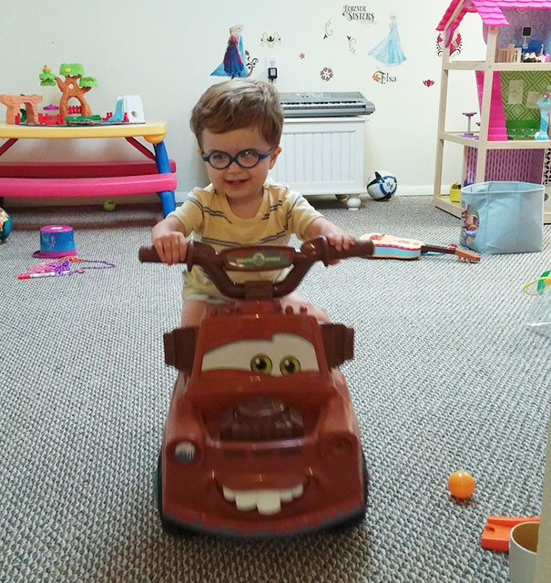 Here Is My Son. Born Blind, Two Cornea Transplants Later Driving His Car (Last Year's Xmas Present) For The First Time. Could Not Get Him Off Of It