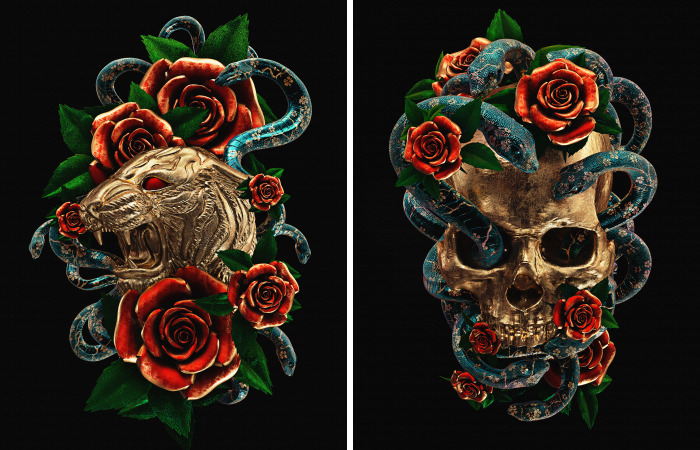 I Reimagined Traditional Tattoos As 3D Illustrations