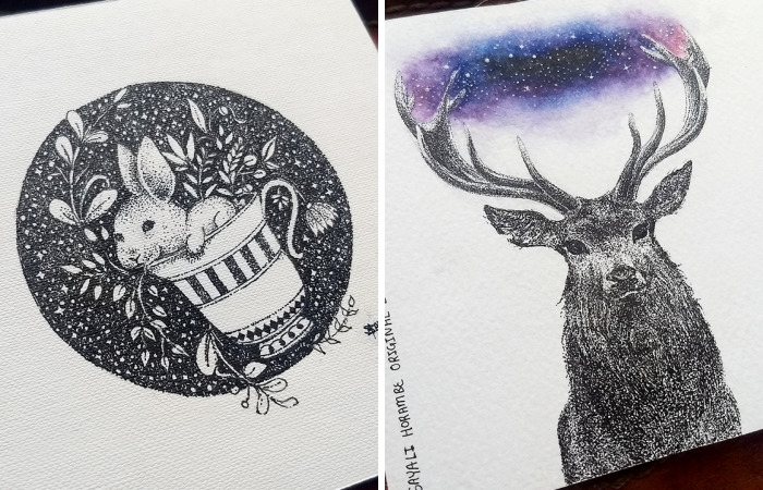 I Transfer My Imagination Onto Mini Canvases By Creating Ink Dot Drawings