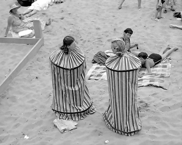 Rita Perchetti And Gloria Rossi Try Out Their New Portable Bathhouse So They Can Change Their Clothes After Sunbathing On Coney Island Beach, 1938