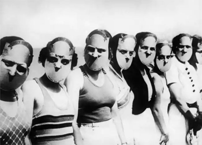Contestants In The Miss Lovely Eyes Beauty Pageant In Florida Wearing Masks To Obscure The Rest Of Their Faces, 1930