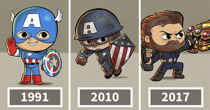 Artist Illustrates The Evolution Of Pop Culture Icons, And The Result Is Too Cute