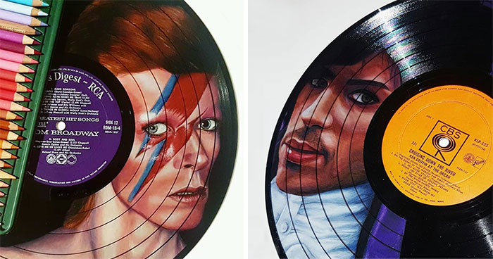 I Create Celebrity Portraits On Used Vinyl Records With Colored Pencils