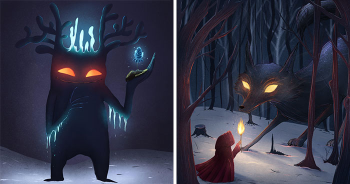 I Painted 19 Illustrations Of Cute Glowing Forest Monsters And Spirits
