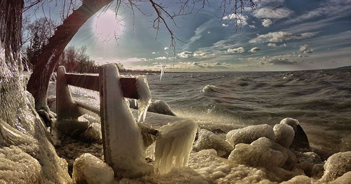 Freezing Temperatures And Strong Winds Turned Balaton Lake Into A Winter Wonderland