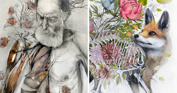 Artist Makes Flowers Bloom From Animal And Human Bodies And The Result Is Beautiful