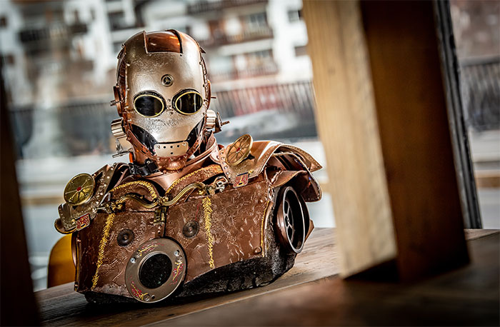 My Husband Creates Amazing Steampunk Sculptures Of Pop Culture Characters From Recycled Materials
