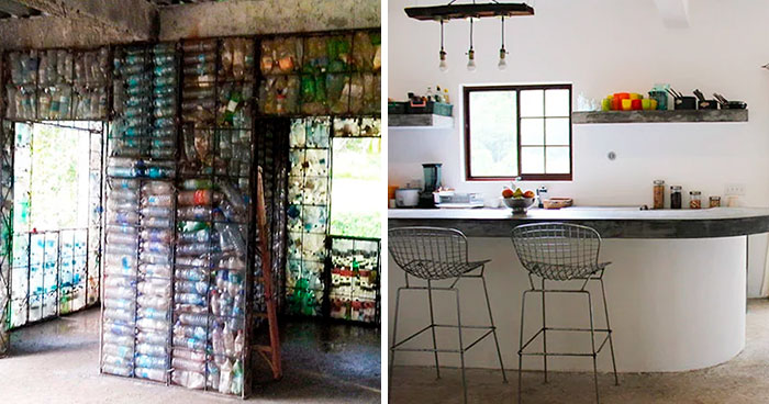 Man Builds Homes Out Of Plastic Bottles And They Look Just Like Regular Houses