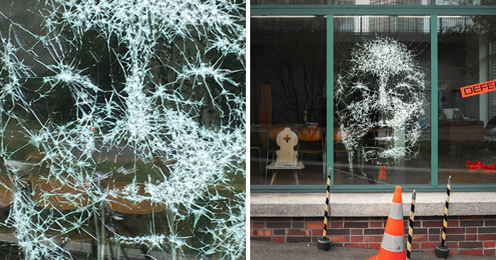 Artist Creates Amazing Portrait By Smashing Glass In Certain Places