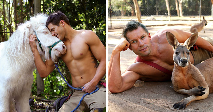 Australian Firefighters Pose With Animals For 2020 Charity Calendar, And The Photos Are So Hot They May Start Fires