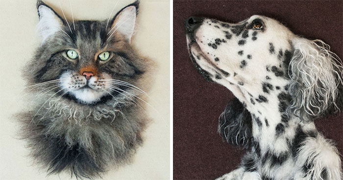 I Create Realistic Pet Portraits From Felted Wool