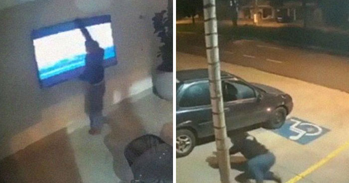 Security Camera Captures Unique Footage Of Thieves Failing So Hard It Looks Like A '90s Comedy Movie