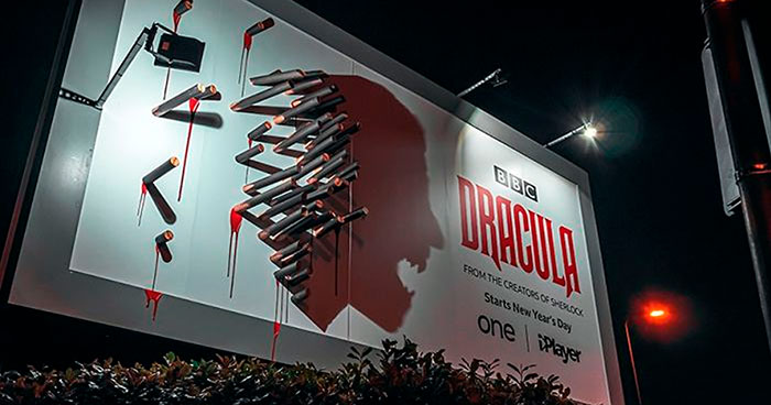 BBC's Dracula Billboard Confuses People During The Daytime But Grabs Attention At Night