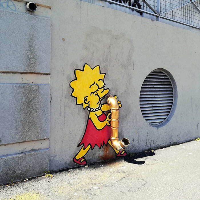 34 Illustrations Of Pop Culture Characters By EFIX Blend Into Walls And Sidewalks