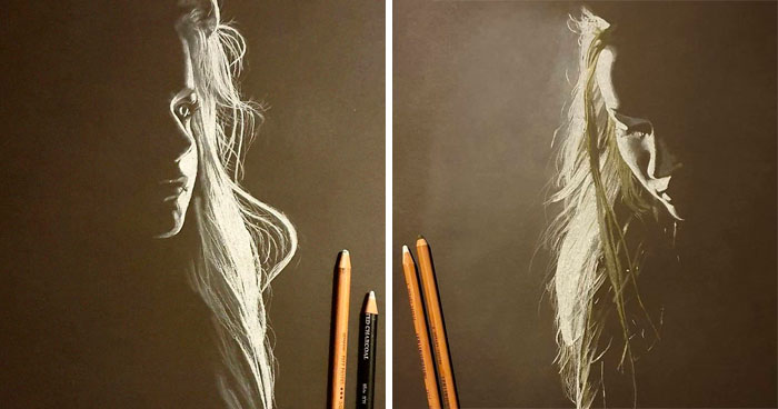 Artist Draws Beautiful Portraits Of Women And They Look Like They're Cast In Light (19 Pics)
