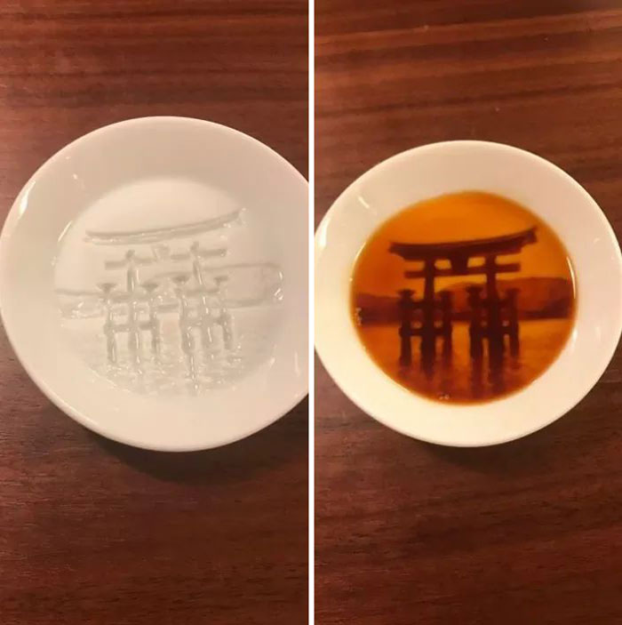 Itsukushima Shinto Shrine Appears On The Dish When Sauce Is Poured On It