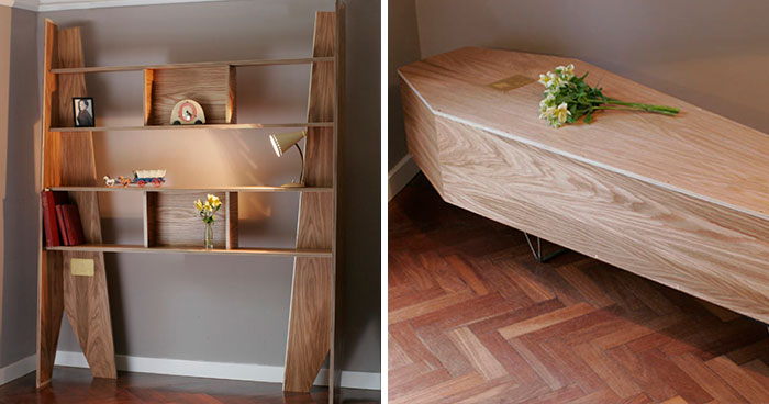 Eco-Responsible Furniture: This Bookshelf Can Be Reassembled Into A Coffin After The Owner's Death