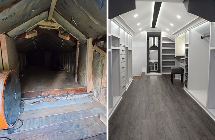 Husband Transforms A Creepy Attic Into His Wife's Dream Closet, Photos Of It Go Viral